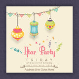 Invitation card with lantern for Ramadan Kareem Iftar Party cele Stock Image