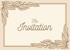 Invitation card leaf ornament royalty free stock photography