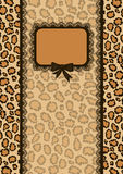 Invitation card with leopard fur texture Royalty Free Stock Photo