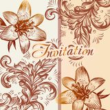 Invitation card with lily flowers in retro style Royalty Free Stock Photos
