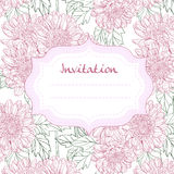 Invitation card with line drawings chrysanthemums Royalty Free Stock Photos