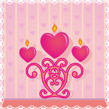 Invitation card, love, heart, candle, candlestick Royalty Free Stock Photos