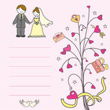 Invitation card with a love tree, hearts Royalty Free Stock Photos