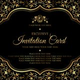 Invitation card - luxury black and gold vector design stock images