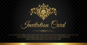 Invitation card luxury black and gold vintage style stock image