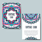 Invitation card with mandala. Decorative ornament for card design. Vintage mandala element. Stock Photo