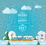 Invitation card Merry Christmas and happy new year 2017 on Christmas market, fair. Vector illustration flat style. Market stalls. House, christmas trees are Stock Photo