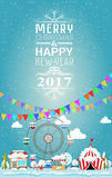 Invitation card Merry Christmas and happy new year 2017 on fair. Vector illustration flat style. Market stall, circus, supermarket, ferris wheel, christmas Stock Images