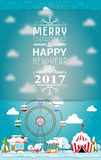 Invitation card Merry Christmas and happy new year 2017 on fair. Vector illustration flat style. Market stall, circus, supermarket, ferris wheel, christmas Stock Image