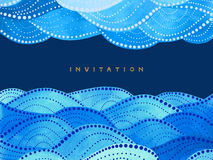 Invitation card on navy blue background with duplex waves ornament Stock Image