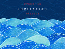 Invitation card on navy blue background with watercolor waves ornament Stock Photos