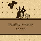 Invitation card with newlyweds on a bicycle in vintage style. Br stock illustration