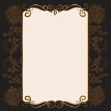 Invitation card with ornamental elements. Floral ornamental frame.Invitation card stock illustration
