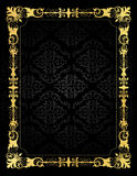 Invitation card ornamental frame and damask backgr. Elegant gold and black damask pattern background with gold ornamental frame.. perfect as stylish wedding Stock Images