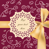 Invitation card with ornaments. Invitation card with bow and ornaments. Vector Stock Image
