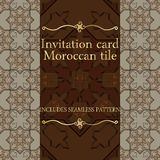 Invitation card pattern with Islamic morocco ornament. Royalty Free Stock Photos