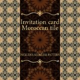 Invitation card pattern with Islamic morocco ornament. Royalty Free Stock Photo