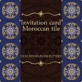 Invitation card pattern with Islamic morocco ornament. Stock Photos