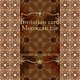 Invitation card pattern with Islamic morocco ornament. Royalty Free Stock Photography