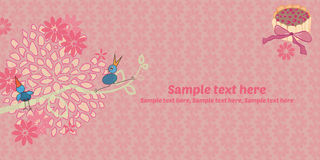 Invitation card,. Pink invitation with flowers and birds and cake Stock Illustration