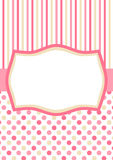 Invitation Card with Pink polka dots and stripes. Invitation card or tag with polka dots, stripes and a frame for text or image Stock Images