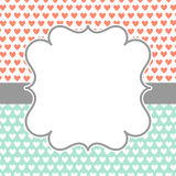 Invitation Card with polka hearts and frame. Invitation card with hearts pattern, stripes and a frame for text or image. Retro colours Stock Photos