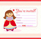 Invitation card with princess Stock Photos