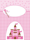 Invitation card with princess castle and wand. Stock Photo