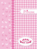 Invitation card with princess crown and shoes. Stock Image