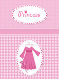 Invitation card with princess dress and wand. Royalty Free Stock Photography