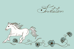 Invitation or card with racing horse Royalty Free Stock Photo