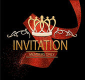 Invitation card with red abstract ribbon Stock Photos