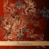 Invitation card in red color with flowers Stock Photo