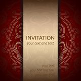 Invitation card in red and gold with ornaments. Invitation card in red and gold with rich ornaments. Square card layout with classic golden pattern and gold Stock Image