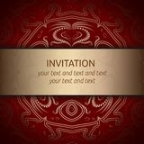 Invitation card in red with golden ribbon. And classic royal gold ornament. Square card layout with rich pattern on red background. Vector template for save the Stock Photography