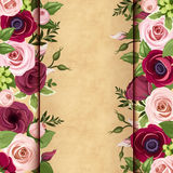 Invitation card with red and pink roses, lisianthuses and anemone flowers Stock Photography