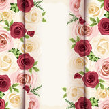 Invitation card with red, pink and white roses. Vector eps-10. Royalty Free Stock Image