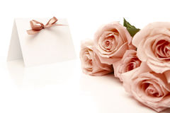 Invitation card and roses Royalty Free Stock Photo