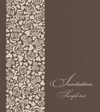 Invitation card with roses and hearts brown Royalty Free Stock Photo