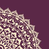 Invitation card with round Indian ornament. Royalty Free Stock Images