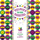 Invitation card on seamless pattern of moustaches and lips. Stock Photos