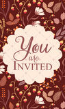 Invitation card, with sign You are invited Royalty Free Stock Images