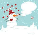 The invitation card with a snowman Stock Photos