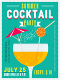 Invitation card for Summer Cocktail Party. stock illustration