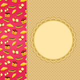 Invitation Card with Sweet Cake Pattern Royalty Free Stock Photos