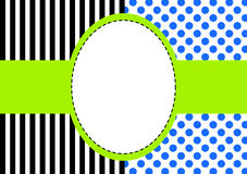 Polka dots and stripes frame. Invitation card or tag with polka dots and stripes and a frame for text or image Stock Image