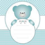 Invitation card with teddy bear Stock Photo