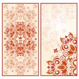 Invitation card template with bright lace floral ornament. Stock Photography