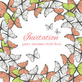 Invitation card template with butterfly ornament Royalty Free Stock Image