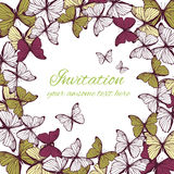 Invitation card template with butterfly ornament Stock Images